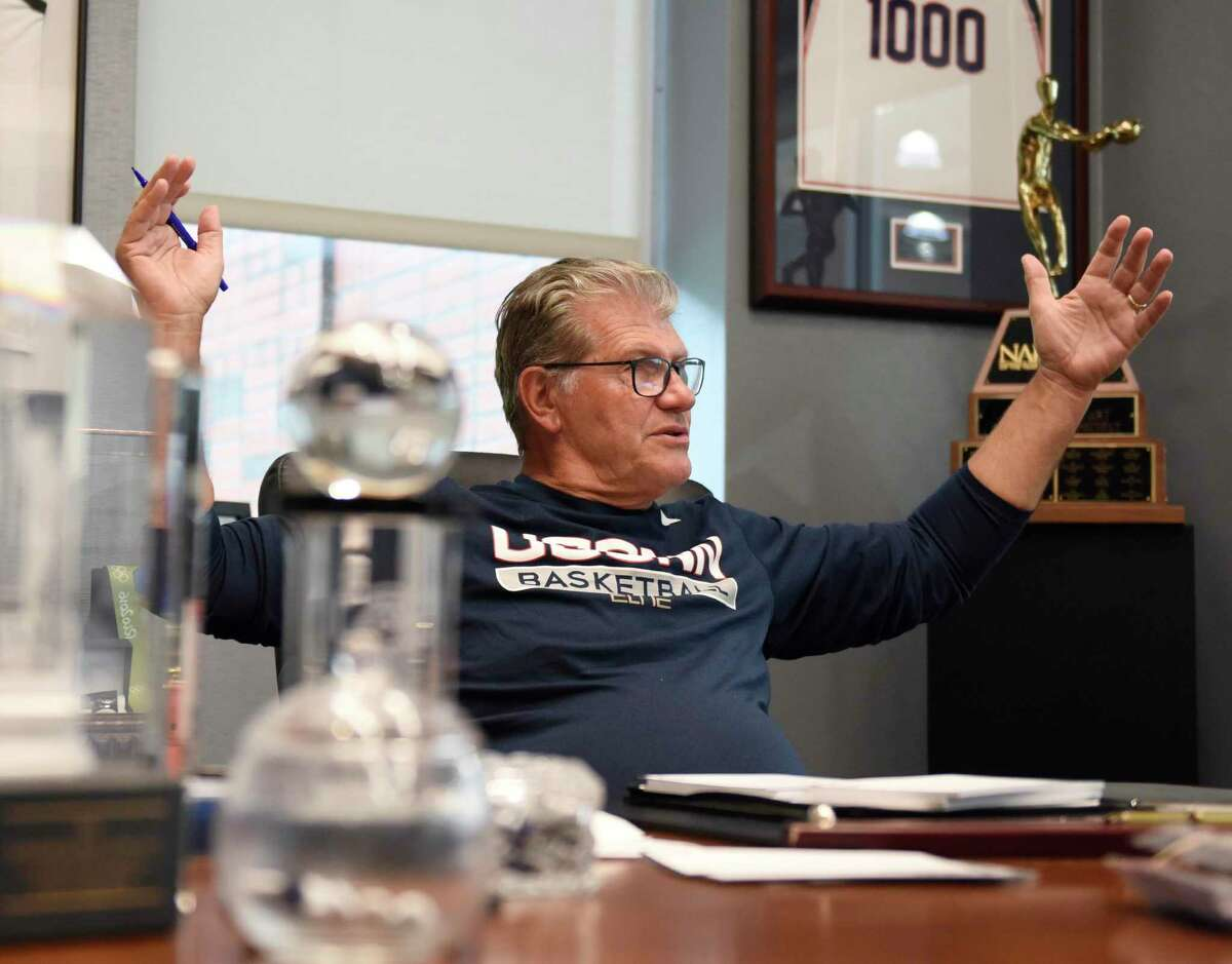 UConn women's basketball coach Geno Auriemma chats in his office at the Werth Family UConn Basketball Champions Center on the UConn main campus in Storrs on June 14.
