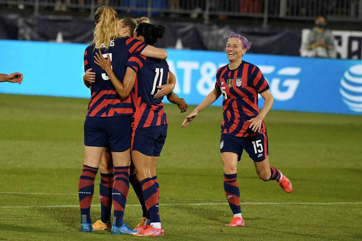 United States' Samantha Mewis (3) celebrates her goal with her teammates during the first half of an international friendly soccer match against Mexico, Thursday, July 1, 2021, in East Hartford, Conn. (AP Photo/Jessica Hill)