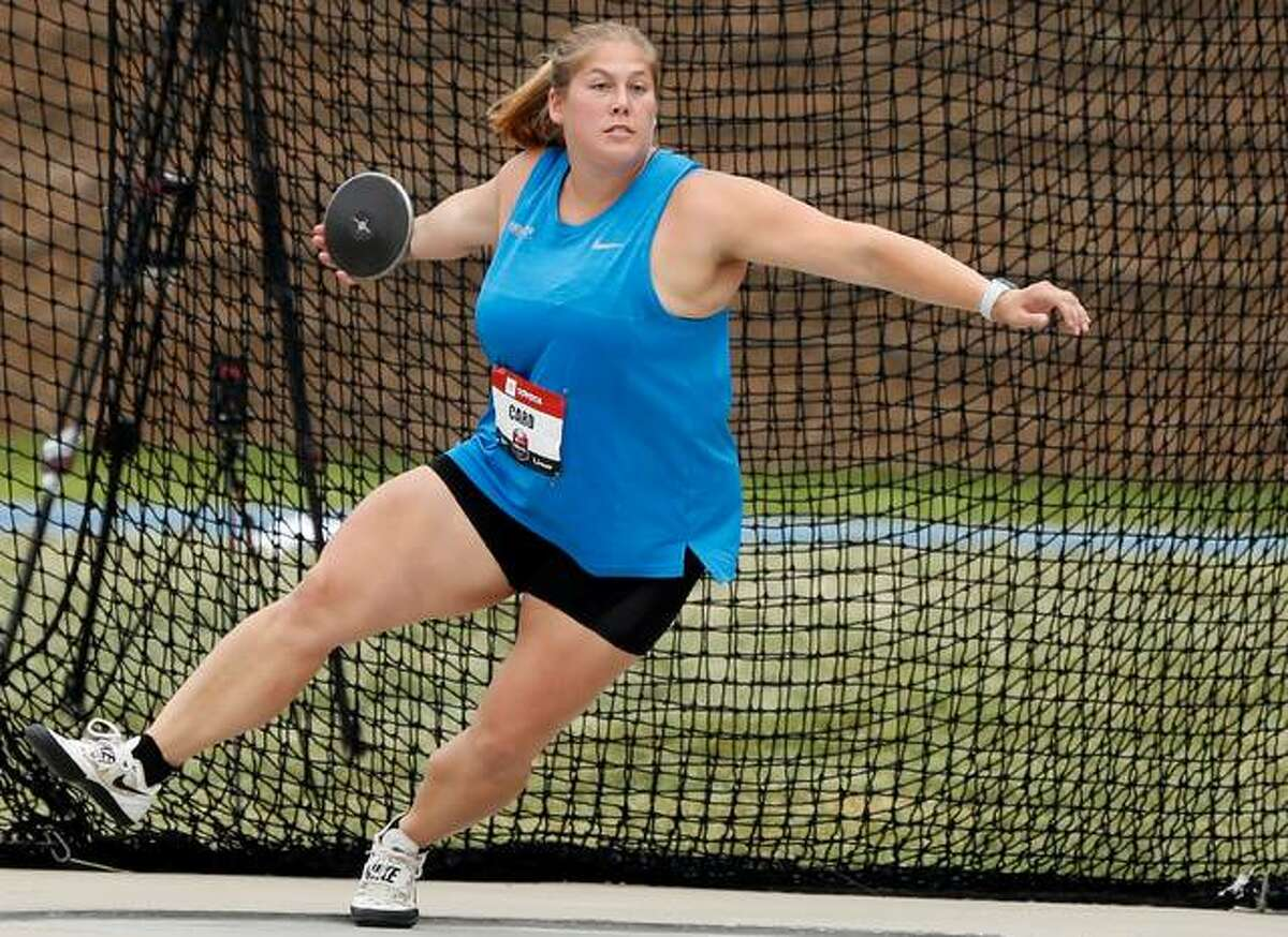 Carlinville native Kelsey Card has been named to the US Olympic Track and Field Team in the discus. Card, a 2011 Carlinville High grad and a former standout at the University of Wisconsin, is shown at the 2019 U.S. Championships in Des Moines, Iowa.