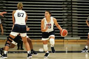 UConn freshman Azzi Fudd, shown at USA Basketball U19 World Cup trials in May, has impressed coach Geno Auriemma during her first month in Storrs.