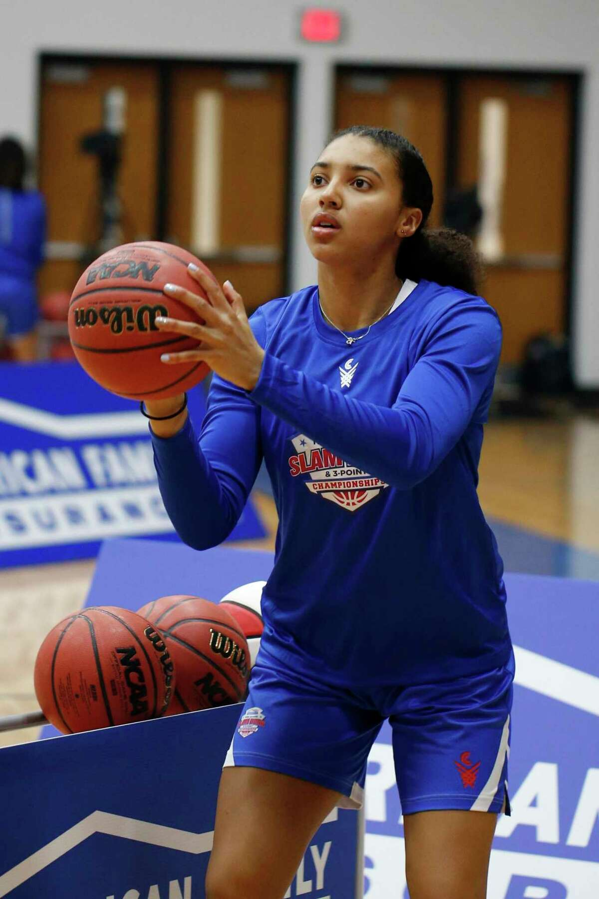 UConn freshman Azzi Fudd at the American Family Insurance High School Slam Dunk & 3 Point Championships in Indianapolis in March. Fudd has thrived during her first month at UConn.