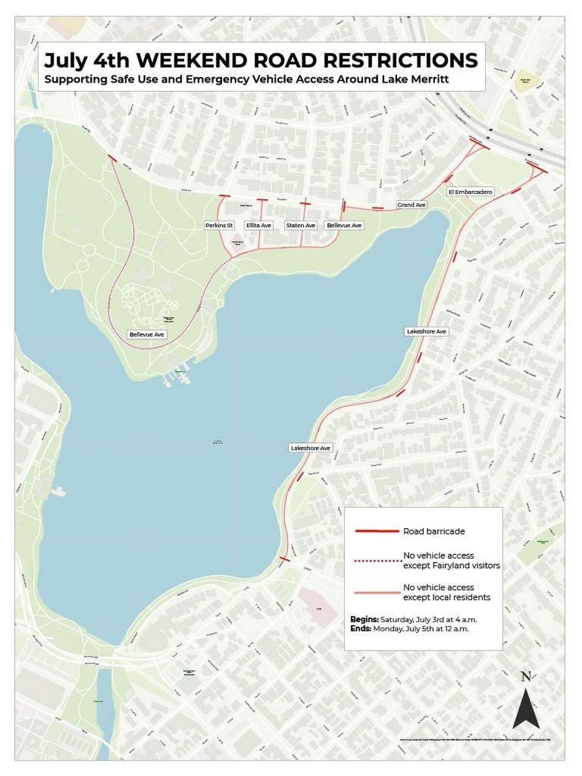 Access points to Grizzly Peak and Lake Merritt will be closed to reduce crowding throughout the holiday weekend.