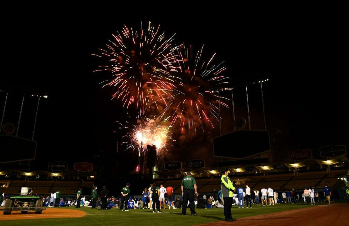 Baseball fans watch fireworks after a game at Dodger Stadium in Los Angeles last month.