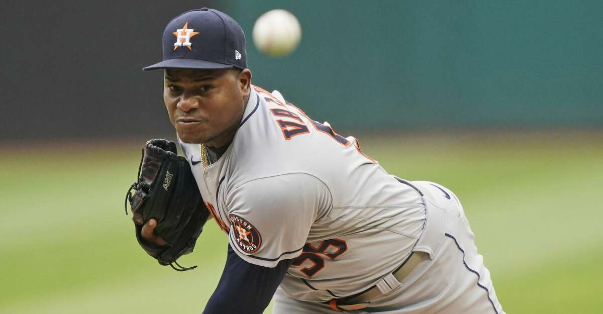 Houston Astros starting pitcher Framber Valdez delivers in the first inning of a baseball game against the Cleveland Indians, Thursday, July 1, 2021, in Cleveland. (AP Photo/Tony Dejak)
