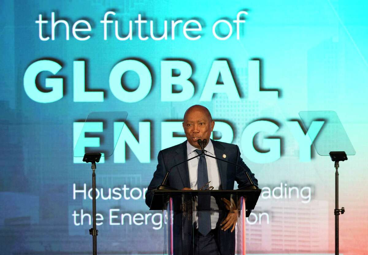 Sylvester Turner, Mayor of Houston, addresses guests as the The Greater Houston Partnership unveils its roadmap to help Houston's energy industry transition to cleaner sources.