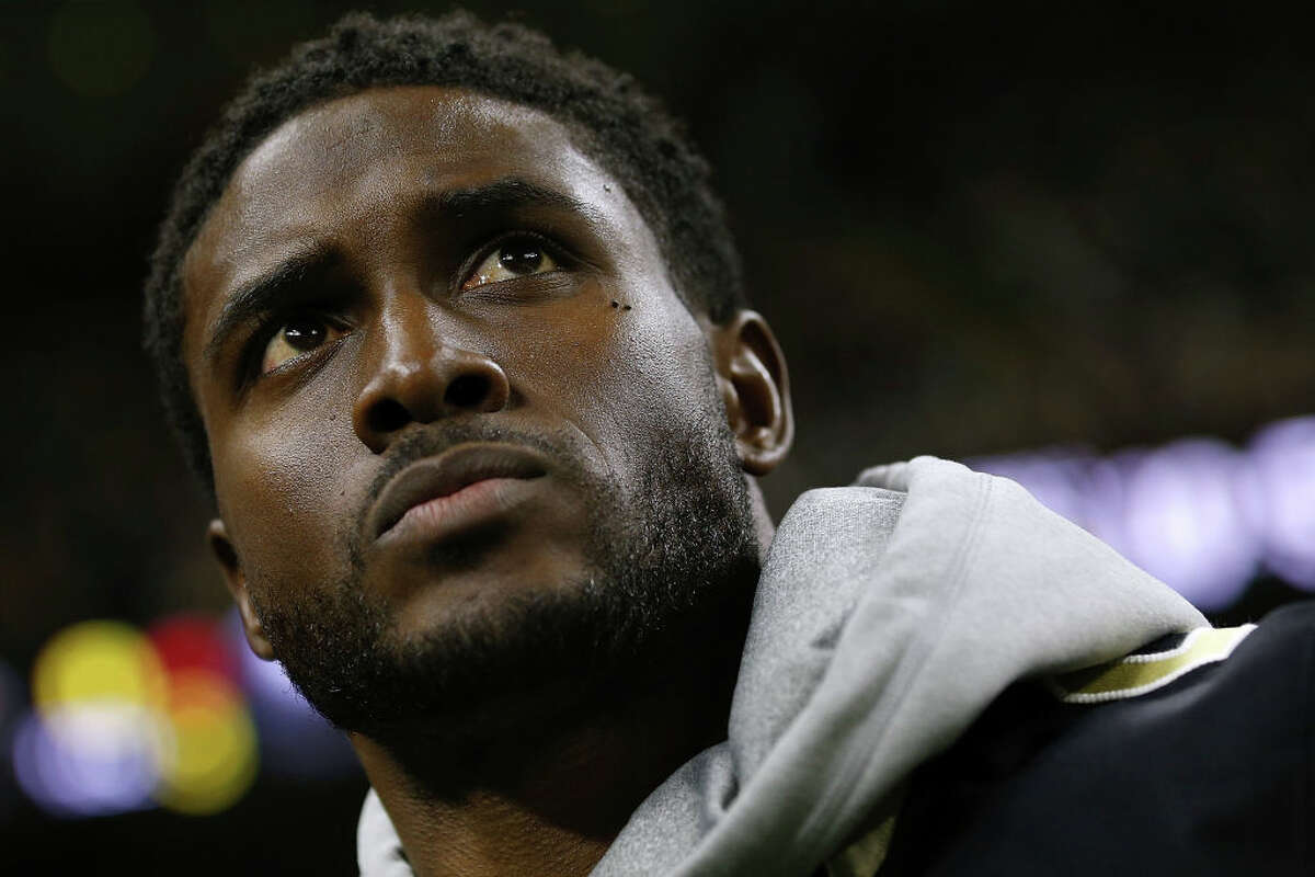 NEW ORLEANS, LA - JANUARY 07: Former New Orleans Saints running back Reggie Bush reacts before the NFC Wild Card playoff game against the Carolina Panthers at the Mercedes-Benz Superdome on January 7, 2018 in New Orleans, Louisiana.