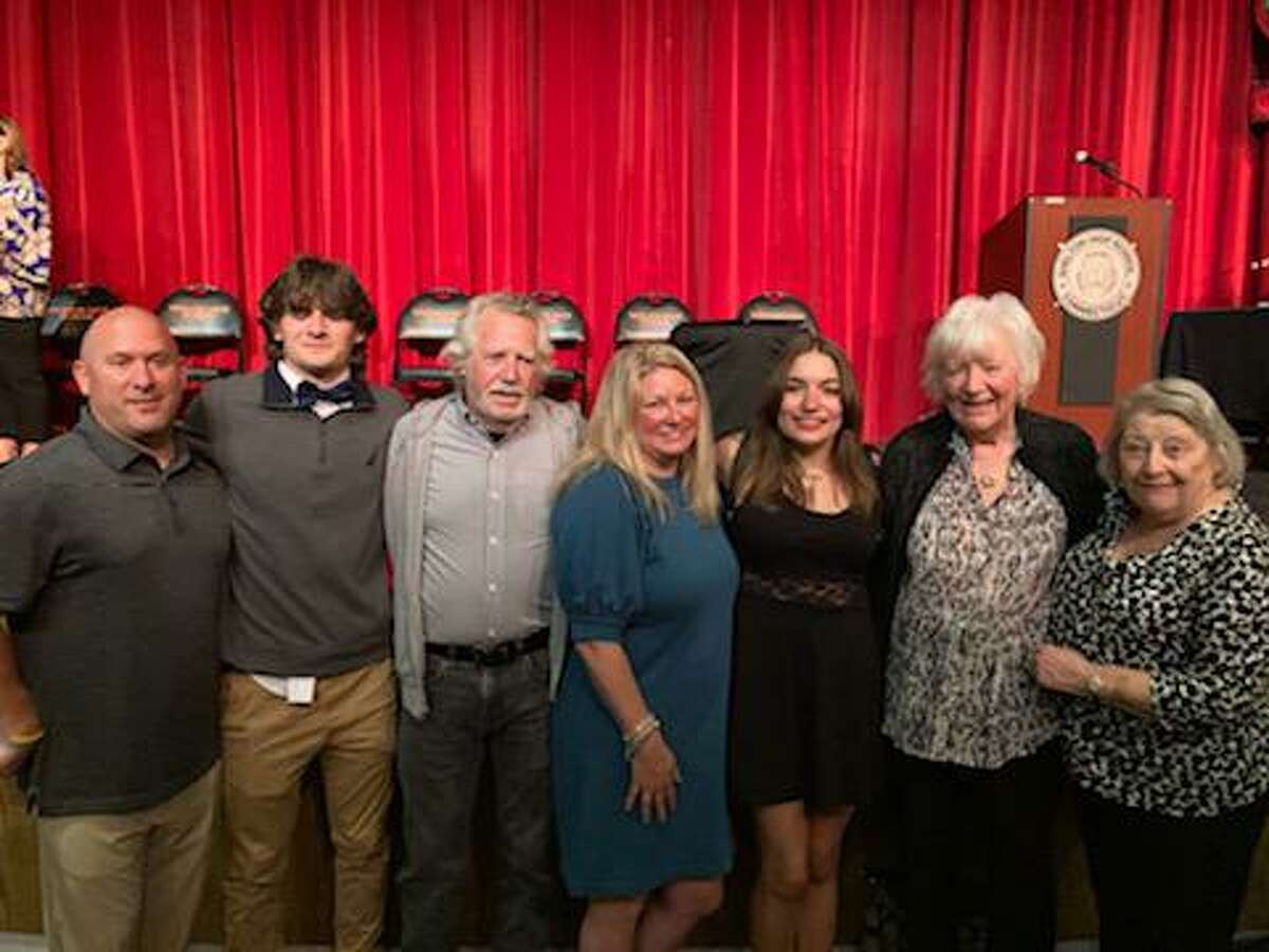 The Barmmer Family, along with Carlin Kestenbaum, (third from right), Inge Weber, president of Shelton Art League (second from right) and Marilyn Mitchel, scholarship chairwoman (far right). Kestenbaum will be studying art at Housatonic Community College.