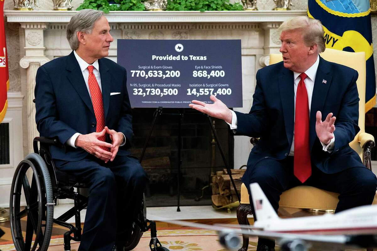 A reader calls out President Donald Trump and Gov. Greg Abbott, pictured here in 2020, for their recent visit to the border, calling it self-promotional.