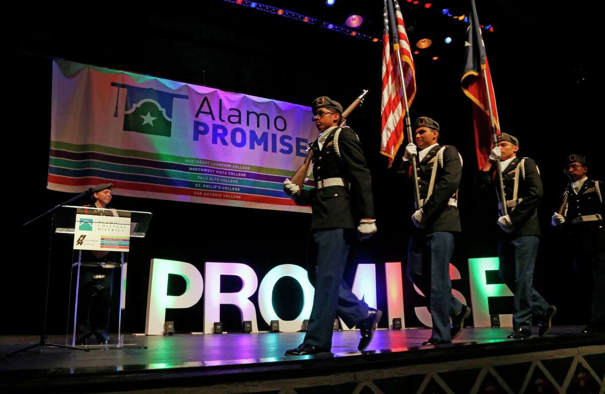 Officials launch the Alamo Promise program in 2019. With $35 million in support from philanthropists MacKenzie Scott and her husband, Dan Jewett, the promise of free tuition is strengthened.