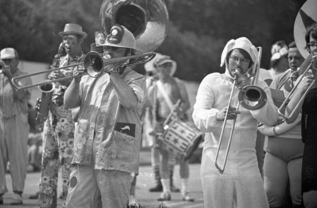 The famed Scottville Clown Band marching in the annual Manistee National Forest Festival parade on July 4, 1981. (Manistee County Historical Museum photo)