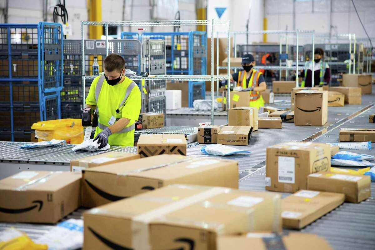 An 180,000-square-foot Amazon Logistics facility such as this one is planned for League City to speed deliveries in Galveston County, the company says.