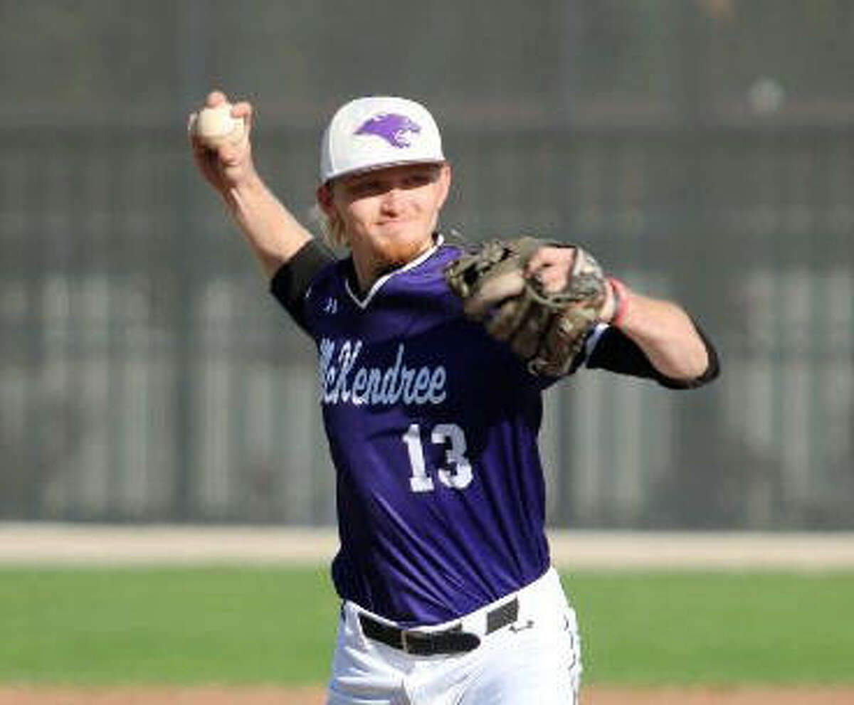 McKendree's Andrew Yancik delivers a pitch to a hitter during a game for the Bearcats in Lebanon.