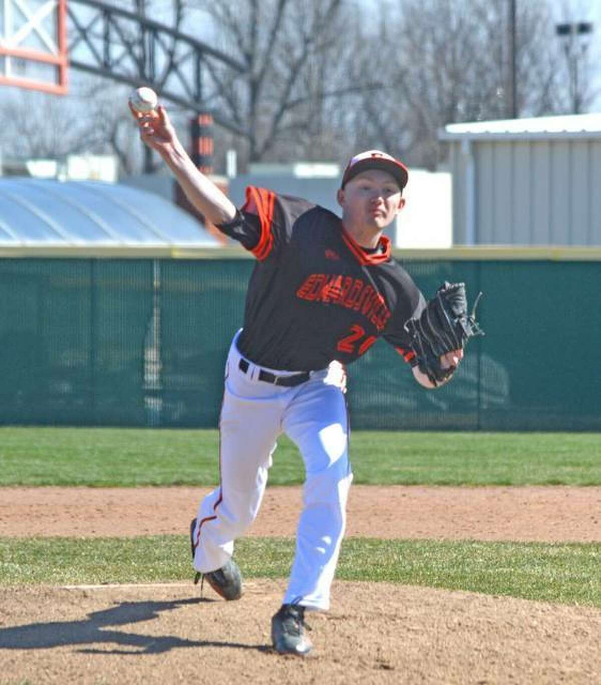 In this file photo, Andrew Yancik fires home a pitch for the Edwardsville Tigers.