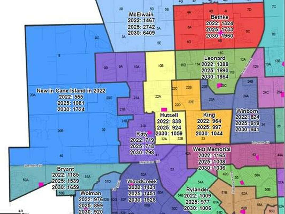 This map shows the proposed new attendance boundary modifications for Katy ISD.