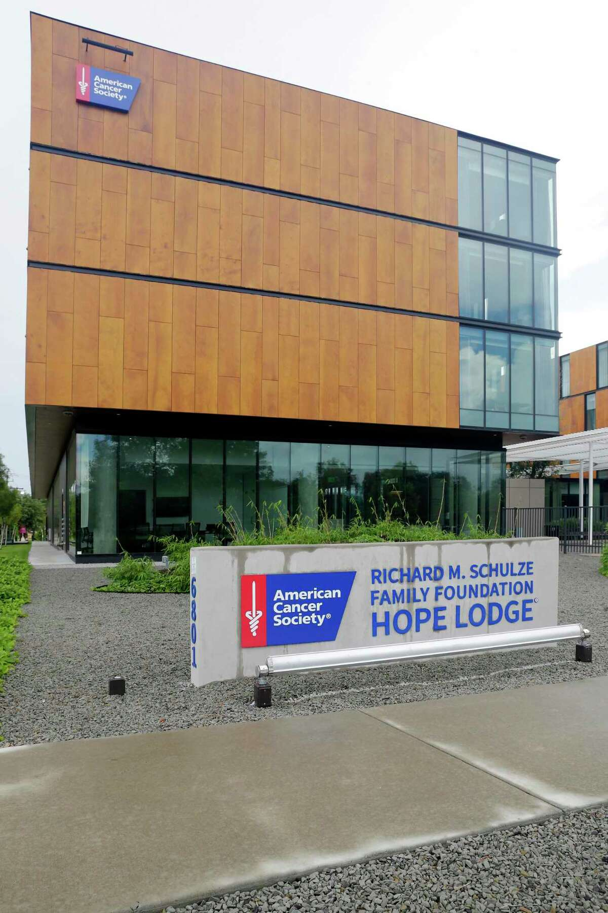 Exterior of the new American Cancer Society Hope Lodge, a facility for temporary lodging of cancer patients during treatment Tuesday, June 29, 2021 in Houston, TX.