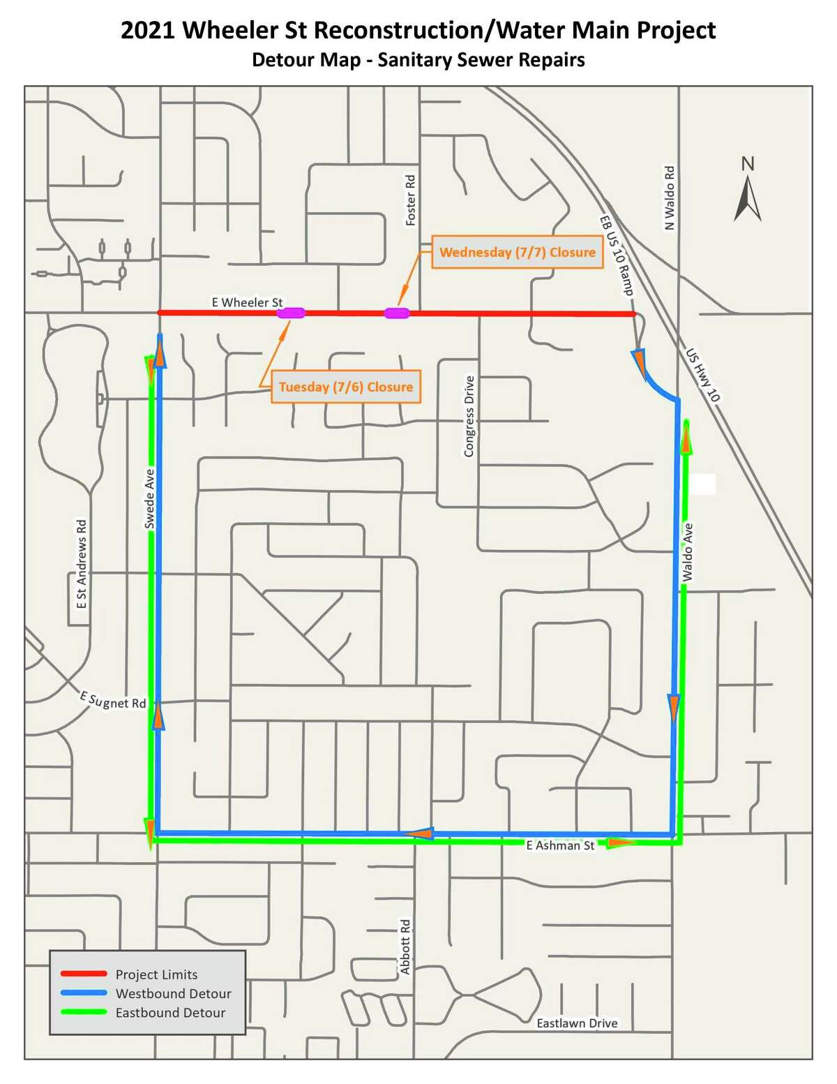 Project limits and detours during Wheeler Street project (City of Midland)
