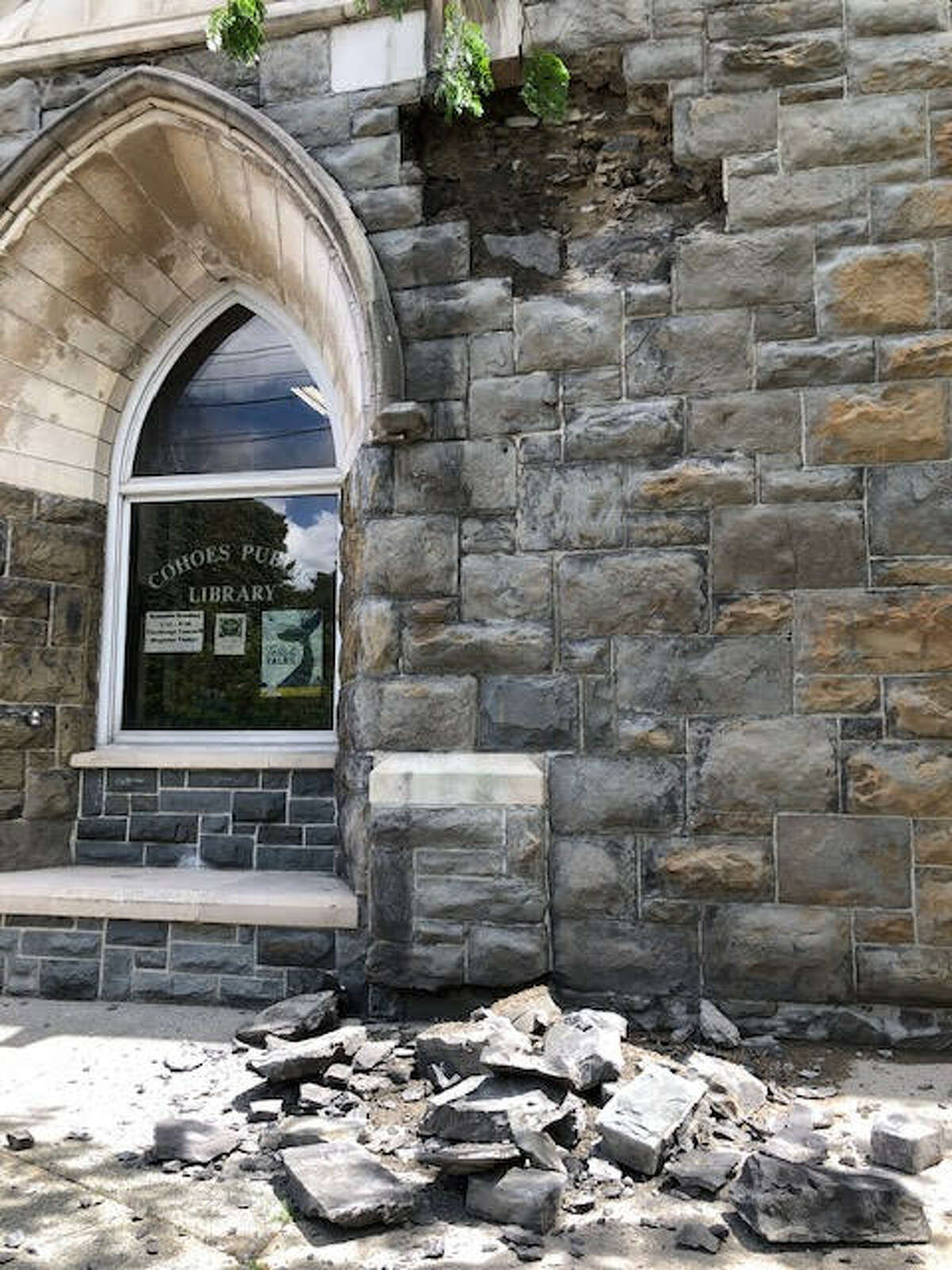 """A portion of an exterior wall at the Cohoes Publc Library has collapsed.City officials said a subsequent assessment of the building as """"shown other worrisome areas."""""""