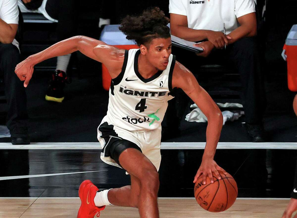 Guard Jalen Green averaged 17.9 points, 4.1 rebounds, and 2.8 assists for the G League Ignite this past season.