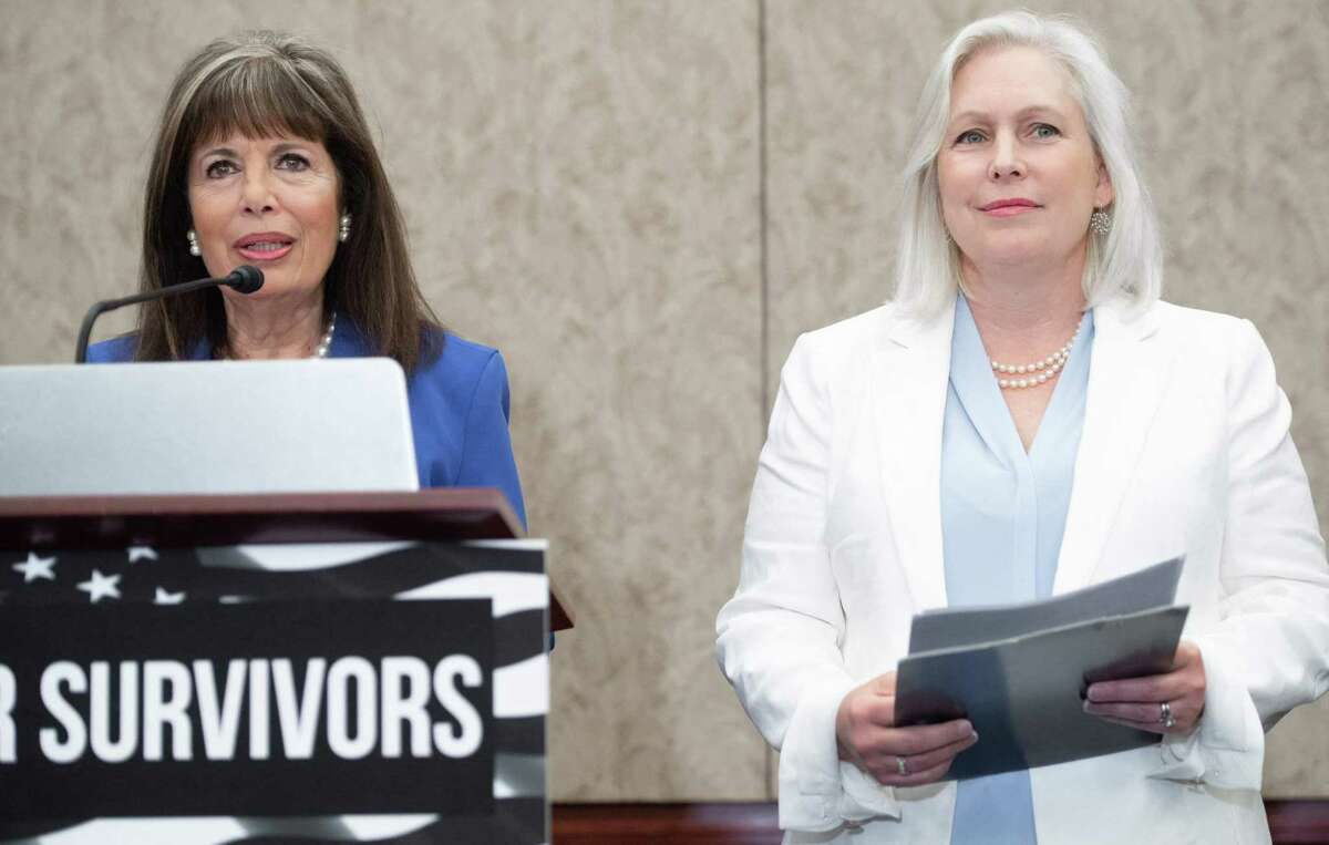US Rep. Jackie Speier, left, D-Calif., speaks alongside U.S. Sen. Kirsten Gillibrand, D-New York, at a press conference introducing the Vanessa Guillen Military Justice Improvement and Increasing Prevention Act, which would move the decision to prosecute serious crimes in the military from the chain of command.