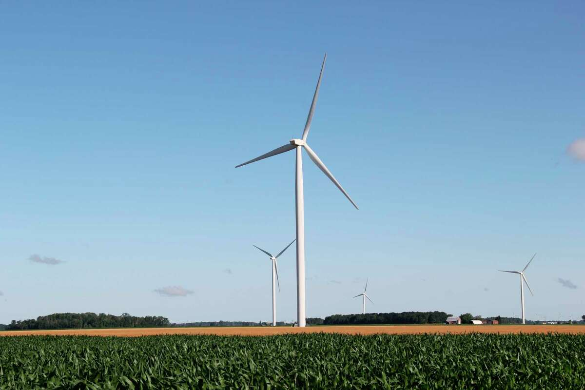 The wind turbines in Sigel and Bloomfield Townships were part of a Michigan Tax Tribunal case Huron County waited nearly two years for a decision on. The Tribunal ruled that DTE was owed back taxes for the turbines located in the two townships for 2016 and 2017. (Robert Creenan/Huron Daily Tribune)