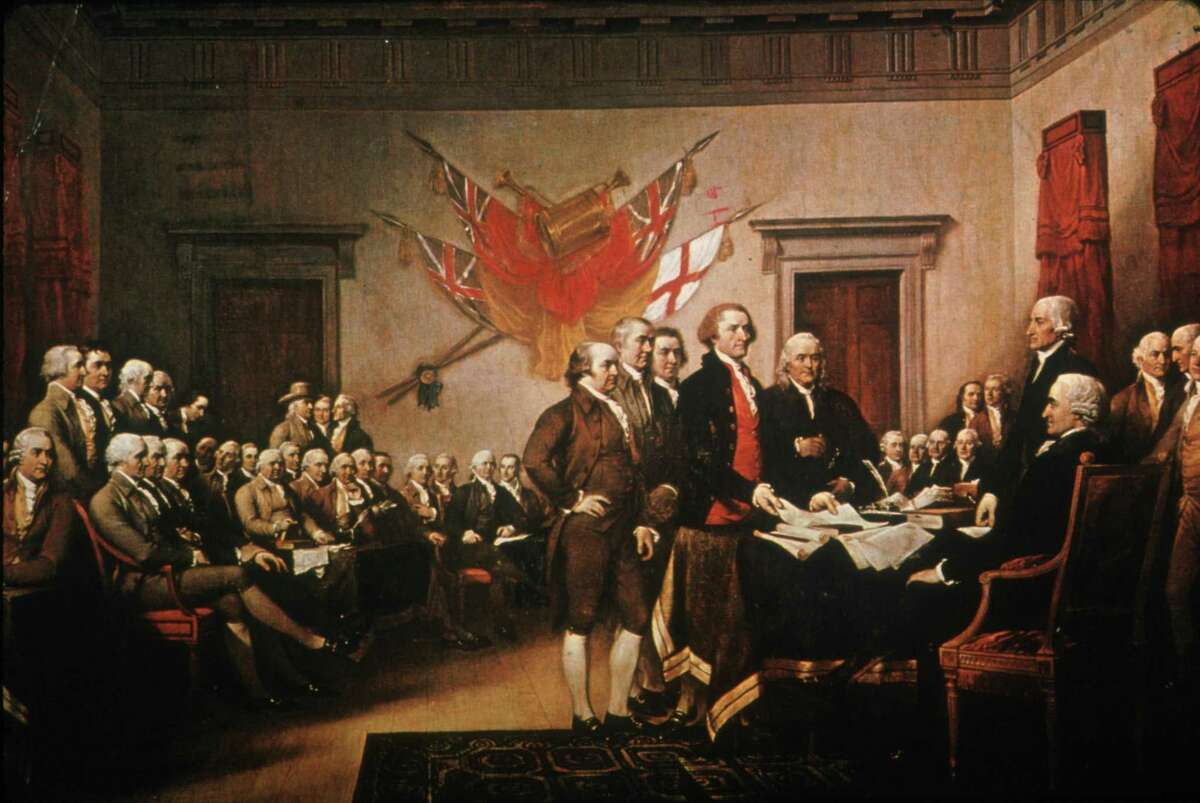 Jonathan Trumbull's painting of the presentation of the Declaration of Independence.