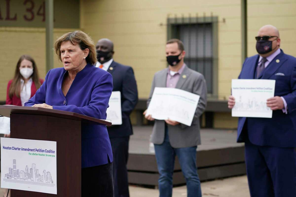 Sue Lovell, a former Houston city council member, speaks during a media conference about a coalition of groups announcing an effort to change the city's form of government with a voter referendum shown outside the Professional Fire Fighters Association headquarters, 1907 Freeman St., Monday, Oct. 26, 2020 in Houston.