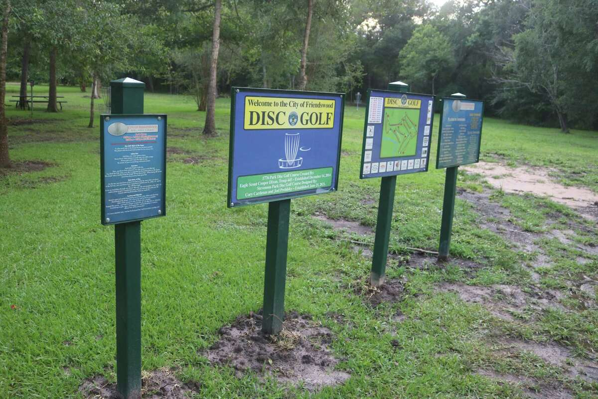 The entrance to the city's new disc golf course gives all the information a competitor could need, from course layout to hours of operation.