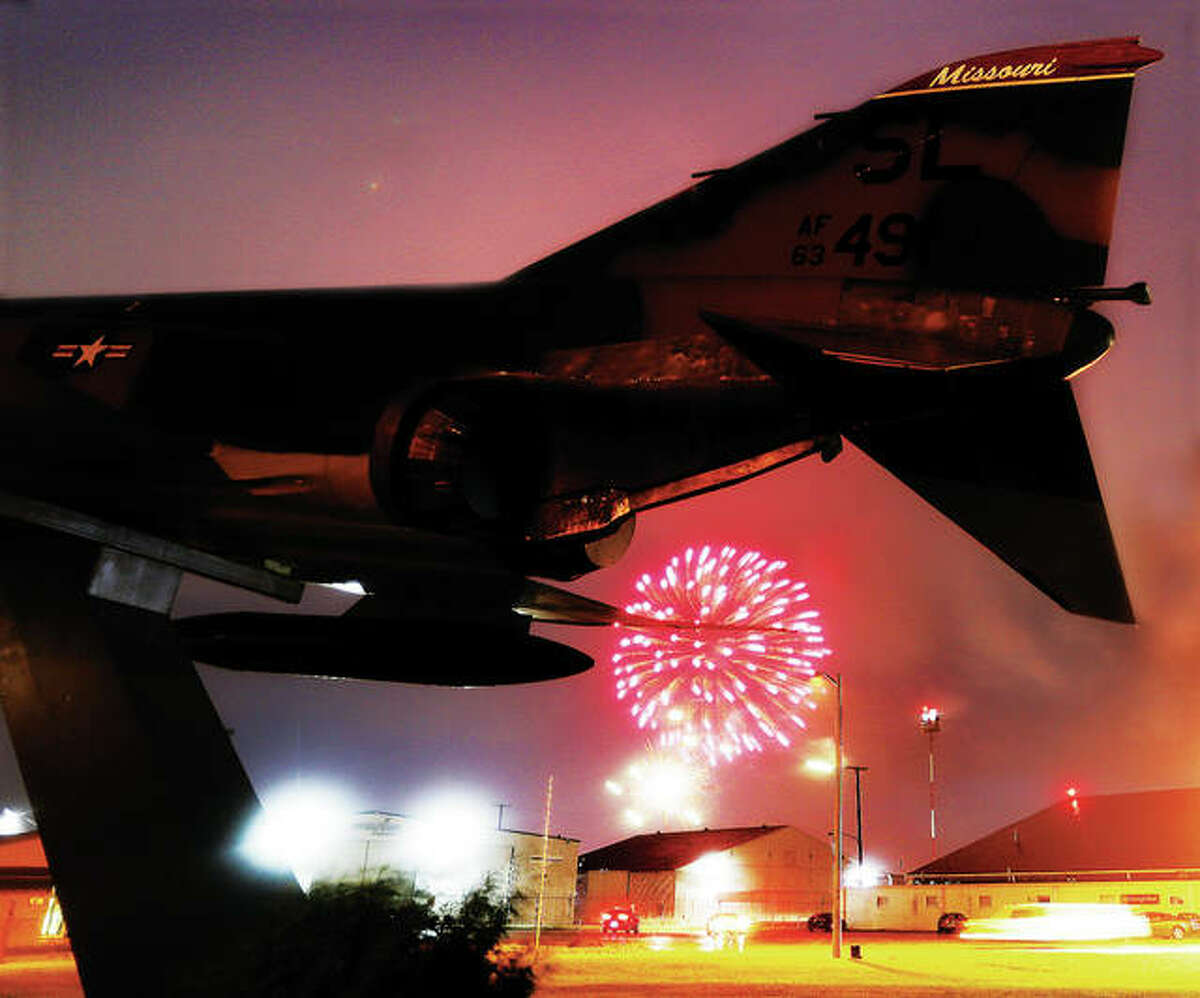 The annual Bethalto fireworks display went off early and in the pouring rain Sunday night behind the static F4 Phantom jet display at St. Louis Regional Airport.