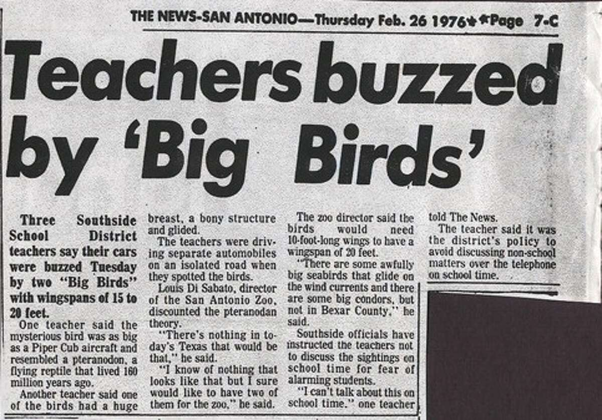 A micro-film news-clipping from the San Antonio Evening News about an incident with two Southside teachers and bizzare sightings in February, 1976.