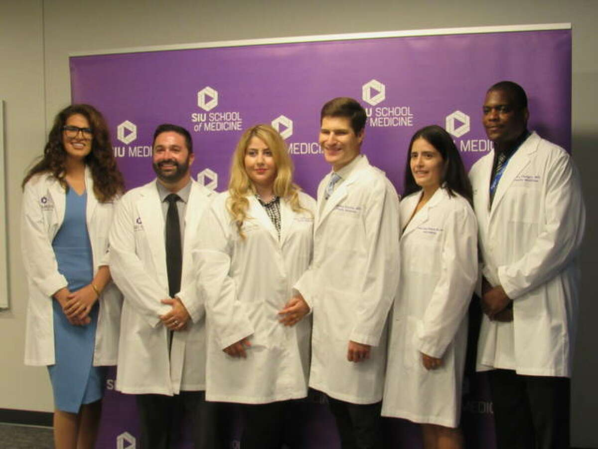The first residents of the SIU School of Medicine's Alton Family Medicine Residency Program began their three-year training at Alton Memorial Hospital on July 2. They include, from left, Drs. Christina Govas, Tyler Wright, Nazanin Kheirkhahan, Jonathan Klarich, Andrea Ramos Richards and Torry Pledger.