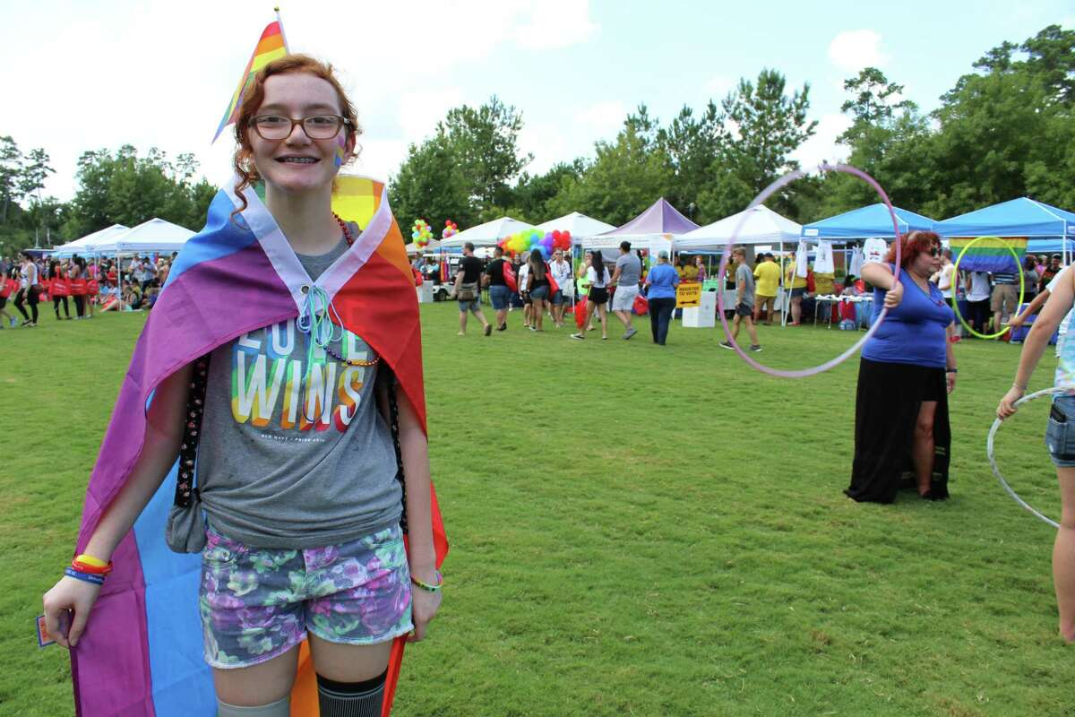 Jollee Carden, 13, of Willis and Hoop Dance Instructor Stephanie Oldmixon were two of an estimated 2.500 people who attended the inaugural Pride Festival in September 2018 in The Woodlands. The 2021 version of The Woodlands Pride has been scheduled for Saturday, Oct. 30, in Town Green Park.