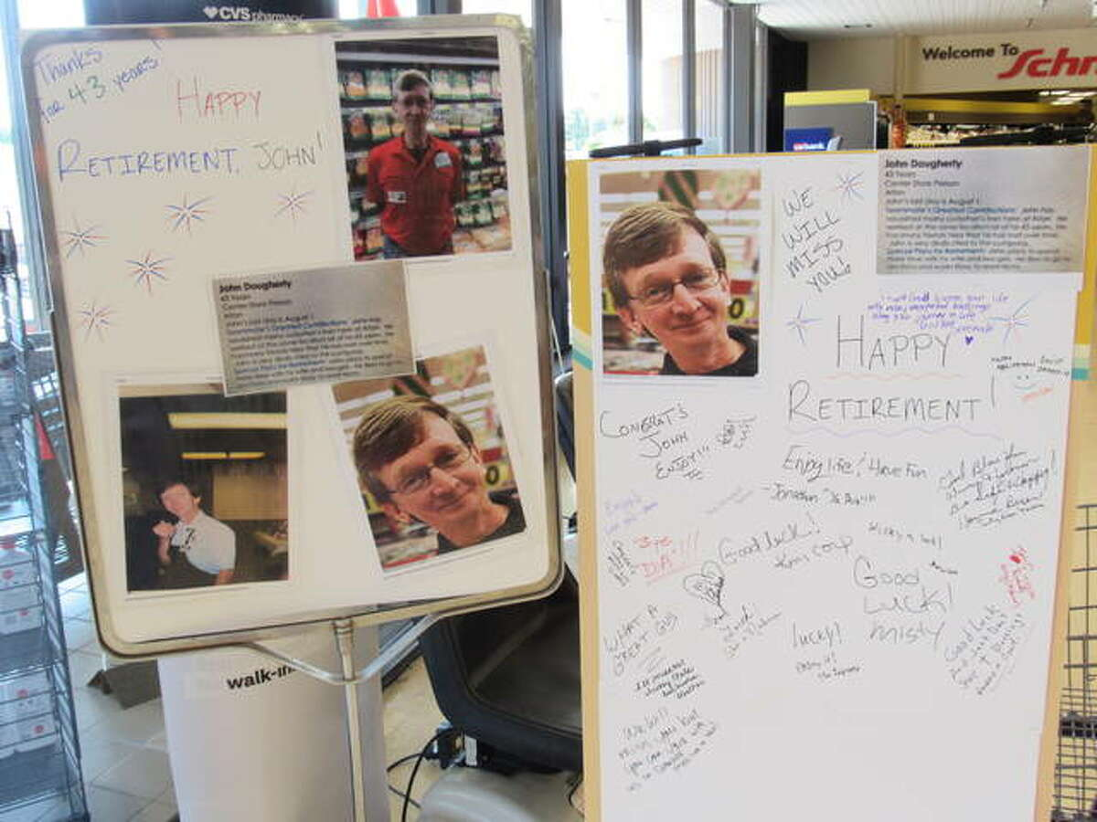 Near the entrance of Schnucks, John Dougherty's coworkers could write well wishes to the soon-to-be retiree. Dougherty has worked at the store for 44 years.