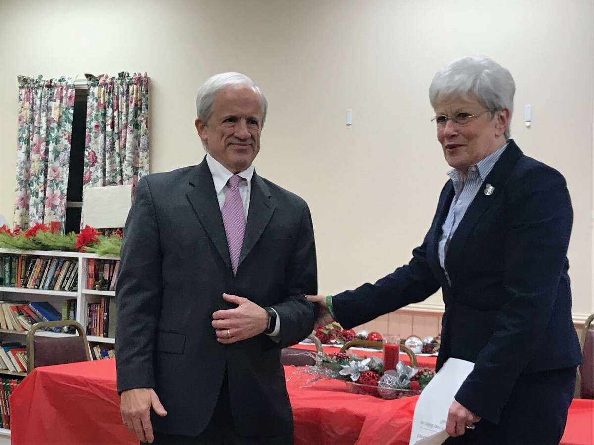 Former Lt. Governor Nancy Wyman officiated at Barkhamsted's swearing-in ceremony in 2017. Above, she takes the oath of office from First Selectman Don Stein, who announced this week that he's seeking an eighth term in office.
