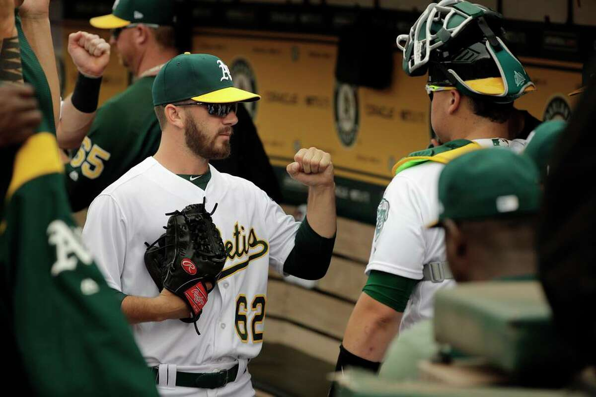A's pitcher Sam Moll, 62 before the game as the Oakland Athletics take on the Los Angeles Angels at the Oakland Coliseum in Oakland, Ca. on Mon. September 4, 2017.