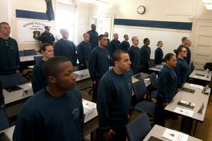 26 new recruits were sworn in as the 41st class of the Bridgeport Police Training Academy, in Bridgeport, Conn. April 29, 2019.