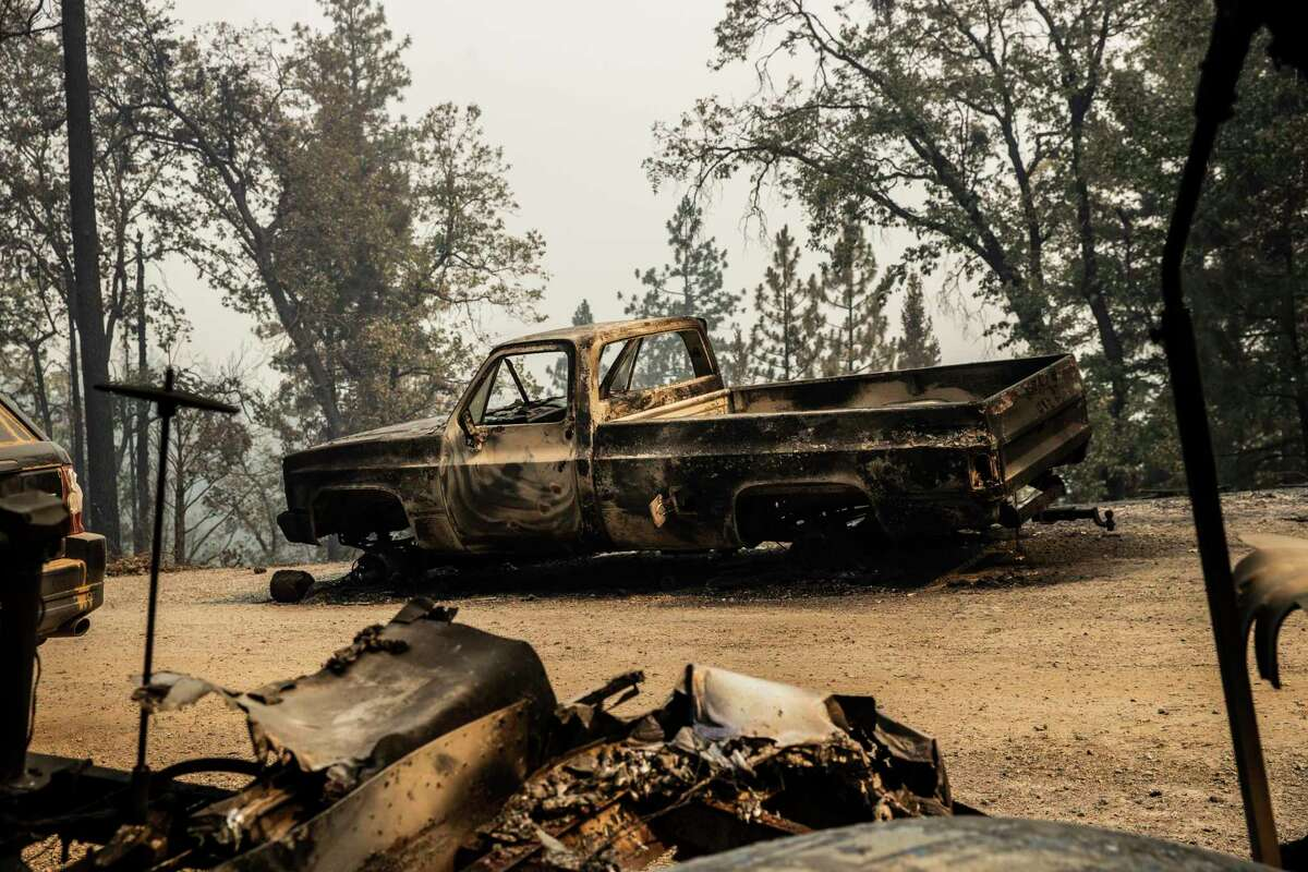 A scorched vehicle during the Salt Fire in Lakehead-Lakeshore (Shasta County) on Friday.