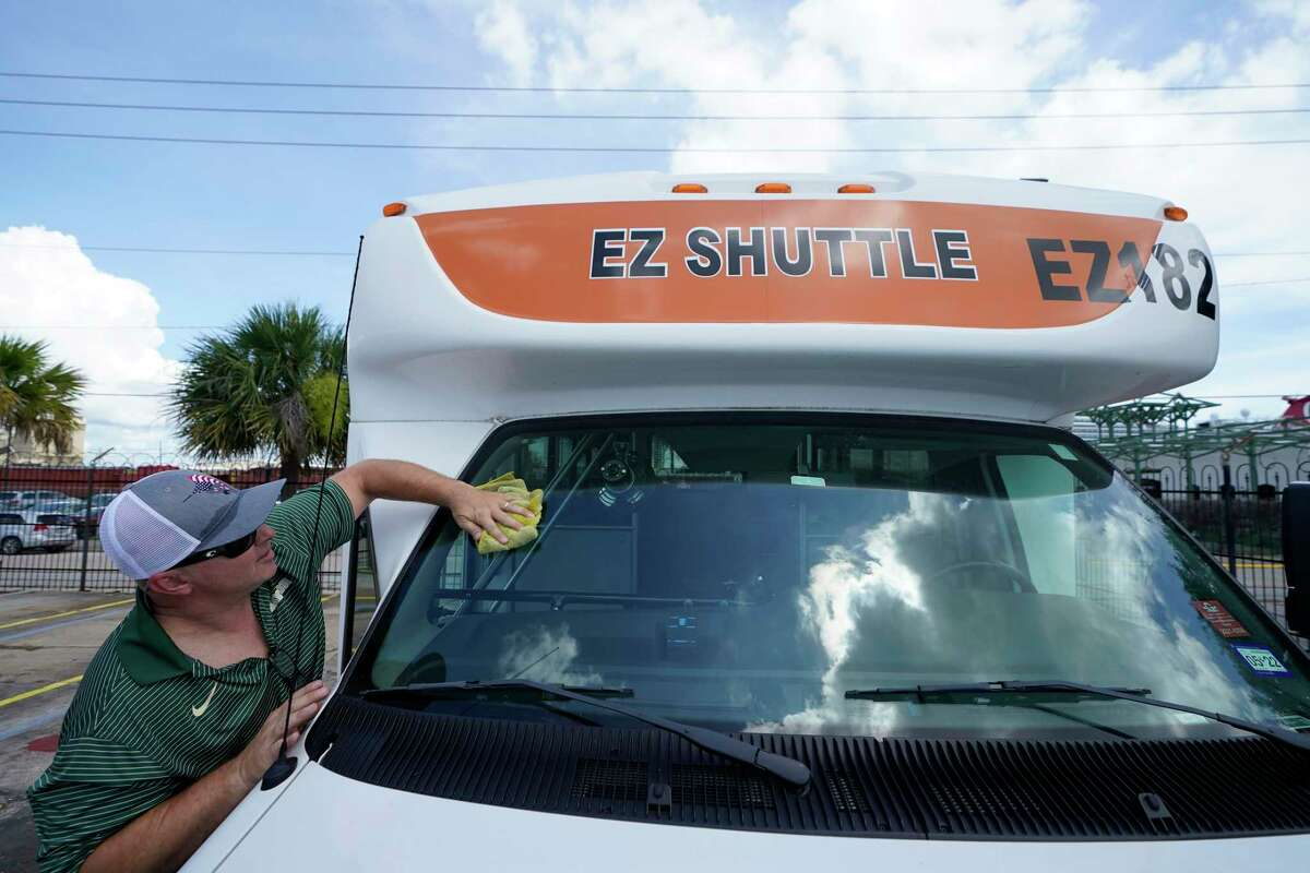Charles Tompkins, COO of EZ Cruise Parking, 2727 Santa Fe Place, prepares Friday, July 2, 2021 in Galveston for the business to open tomorrow. The Carnival Vista will be the first cruise to sail out of Galveston since the pandemic.