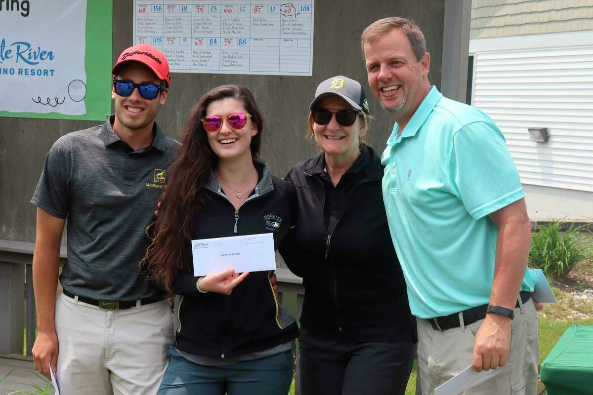 Ethan Sommerfield, Maggie Blevins, Laurie Blevins and Eric Gustad finished as the top mixed team with a 68 on the course. (Robert Myers/News Advocate)
