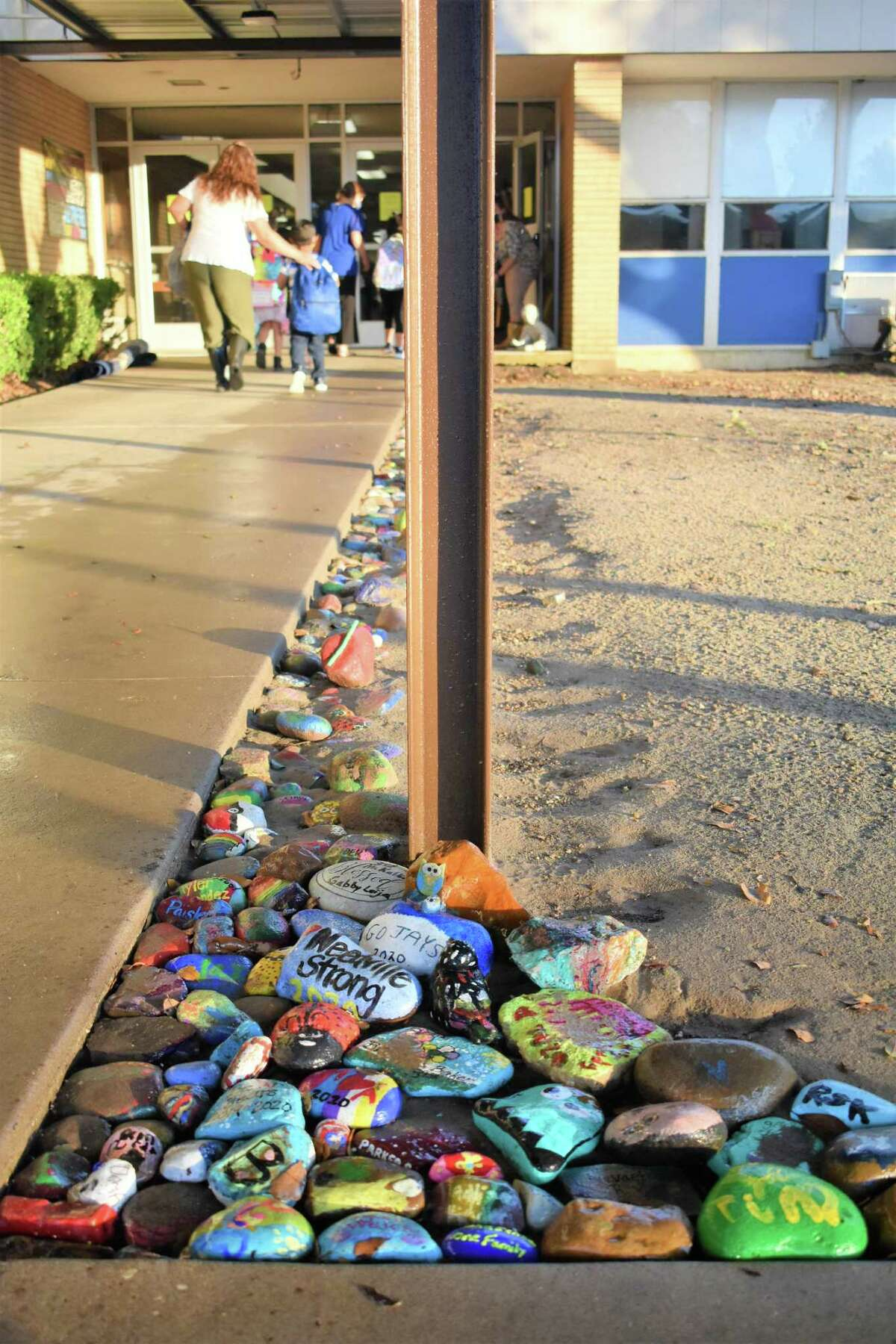 Brightly colored rocks painted by all Needville Elementary School students at the end of the historic 2019-20 school year welcomed them back to the first day of school for the 2020-21 school year. The project enabled students to end the year in a special way since they were unable to be together due to coronavirus.