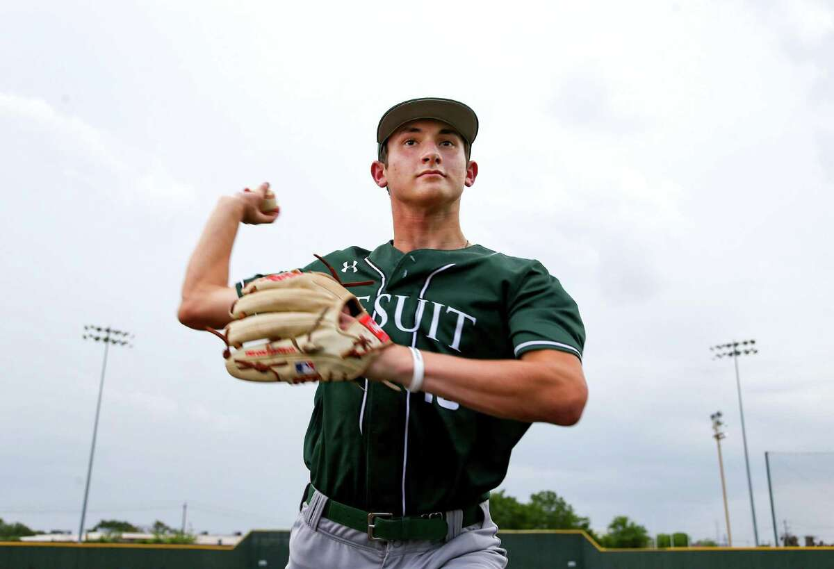 Strake Jesuit pitcher Garrett Stratton in Houston on Monday, June 21, 2021. Stratton, who is a junior, is the Houston Chronicle's All-Greater Houston Baseball Pitcher of the Year and has committed to Rice University.