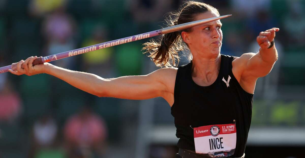 EUGENE, OREGON - JUNE 26: Ariana Ince competes in the Women's Javelin Throw Final on day nine of the 2020 U.S. Olympic Track & Field Team Trials at Hayward Field on June 26, 2021 in Eugene, Oregon. (Photo by Andy Lyons/Getty Images)