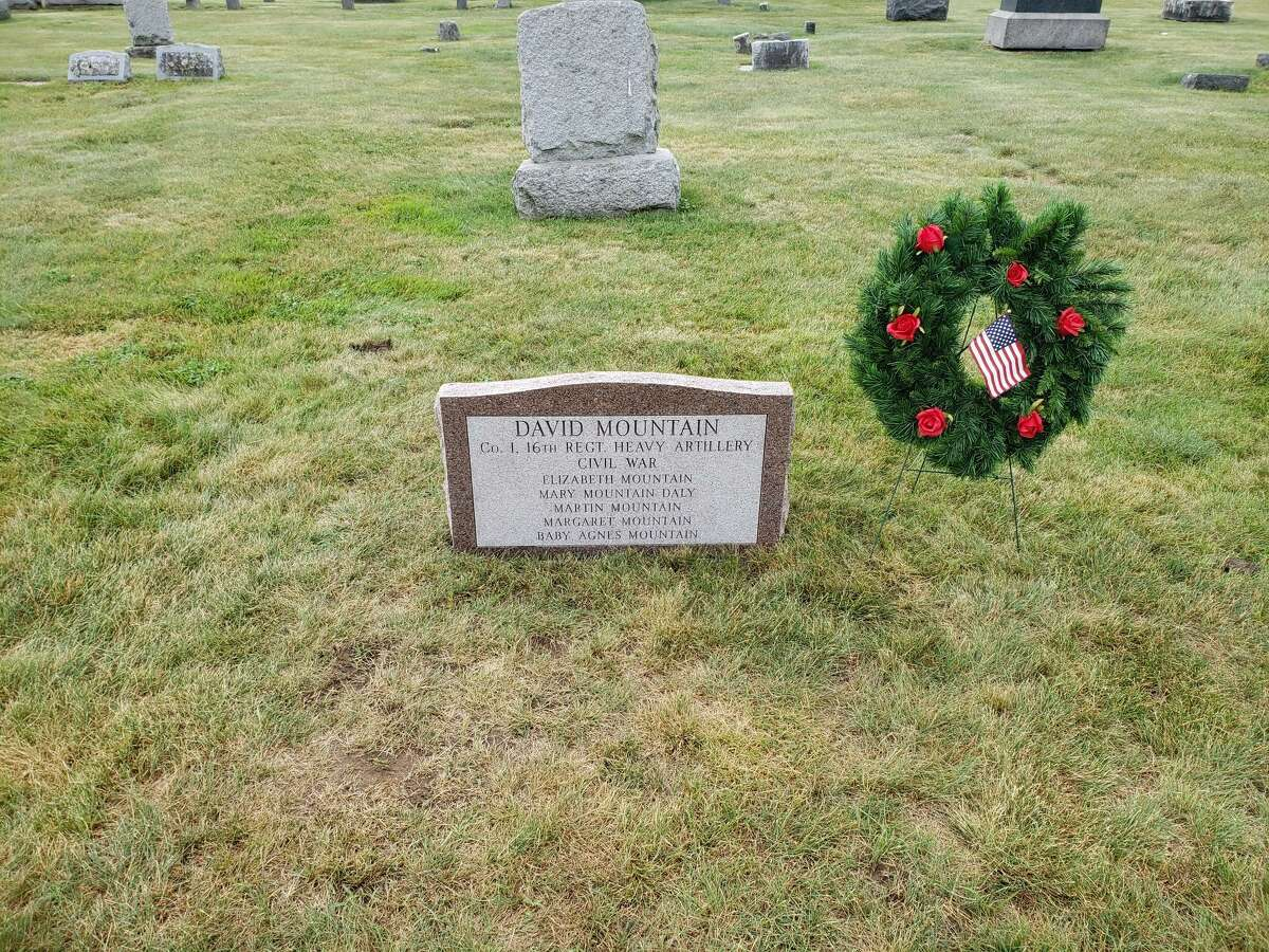 A new headstone is on the gravesite of Pvt. David Mountain, a Civil War soldier, at the St. John the Baptist Cemetery in Schenectady.