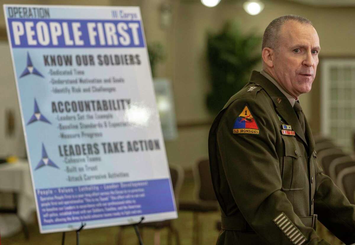 Lt. Gen. Pat White, commander of III Corps and Fort Hood, speaks to reporters during a news conference Dec. 8 to discuss the findings in the independent probe into the command culture and climate at the Army post. The Army issued a new policy for responding to missing soldiers the same day.