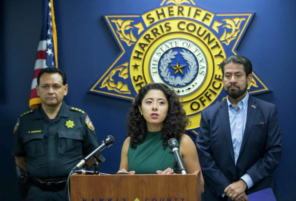 Harris County Judge Lina Hidalgo speaks during a joint press conference to discuss smart cost-effective investments in public safety Monday, June 28, 2021 in Houston. Discussed were two upcoming Commissioners Court items that would bring up to an additional $14.8 million for public safety, as well as the importance of collaboration.