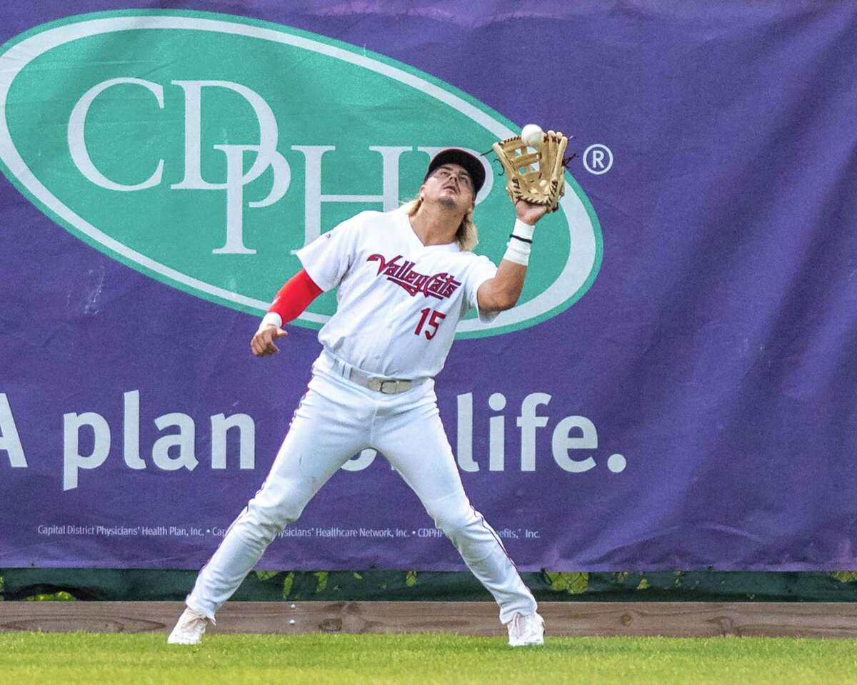 Tri-City ValleyCats left fielder Chris Kwitzer makes a catch just in front of the warning track during a game against Equipe Quebec on Friday, July 2, 2021 at the Joseph L. Bruno Stadium on the Hudson Valley Community College Campus in Troy, NY (Jim Franco/Special to the Times Union)
