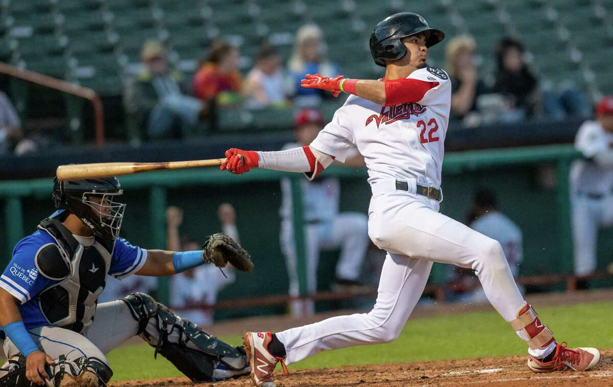 Tri-City ValleyCats shortstop Nelson Molina takes a cut against Equipe Quebec on Friday, July 2, 2021 at the Joseph L. Bruno Stadium on the Hudson Valley Community College Campus in Troy, NY (Jim Franco/Special to the Times Union)