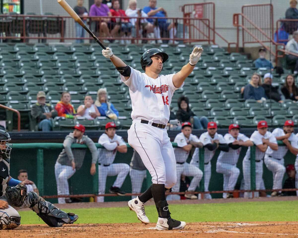 Tri-City ValleyCats designated hitter Brad Zunica takes a cut against Equipe Quebec on Friday, July 2, 2021, at Joseph L. Bruno Stadium. (Jim Franco/Special to the Times Union)