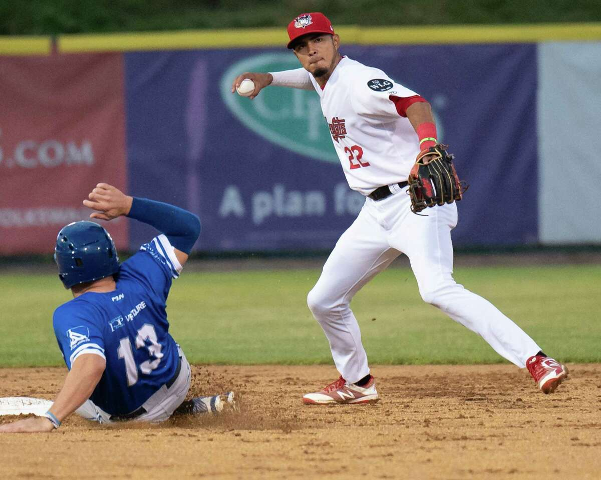 Tri-City ValleyCats shortstop Nelson Molina throws to first after forcing out Equipe Quebec baserunner Connor Panas at second on Friday, July 2, 2021 at the Joseph L. Bruno Stadium on the Hudson Valley Community College Campus in Troy, NY (Jim Franco/Special to the Times Union)