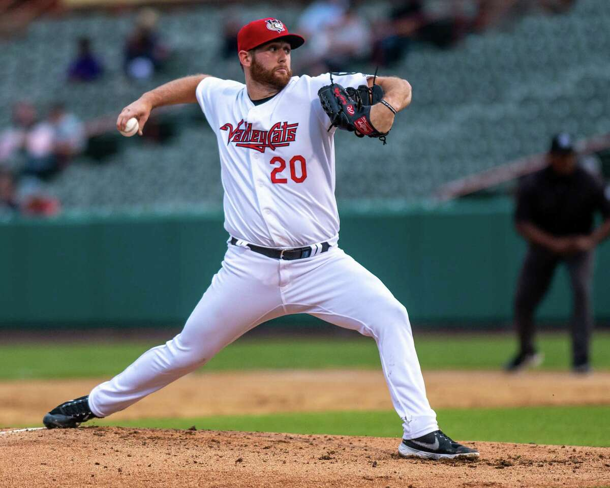 TriCity ValleyCats starting pitcher Parker Kelly delivers against Equipe Quebec on Friday, July 2, 2021 at the Joseph L. Bruno Stadium on the Hudson Valley Community College Campus in Troy, NY (Jim Franco/Special to the Times Union)