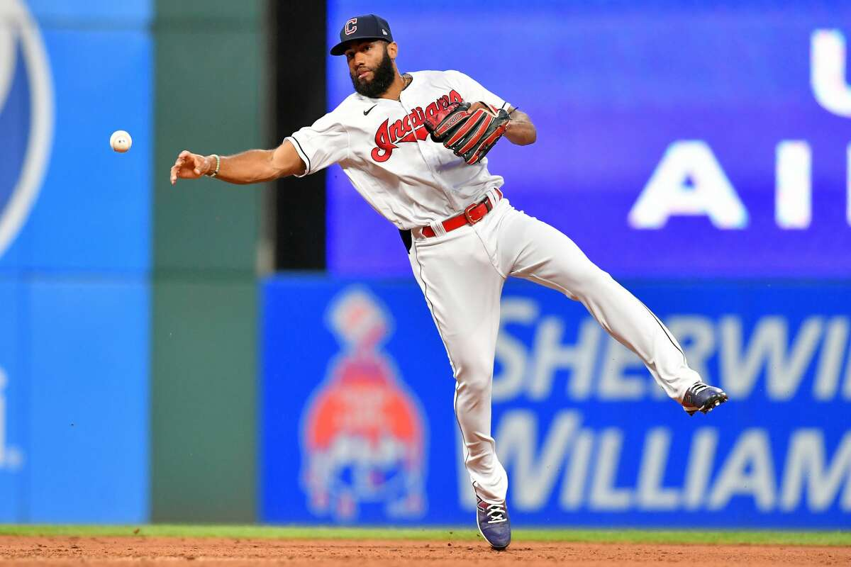 CLEVELAND, OHIO - JULY 02: Shortstop Amed Rosario #1 of the Cleveland Indians throws out Taylor Jones #28 of the Houston Astros at first during the sixth inning at Progressive Field on July 02, 2021 in Cleveland, Ohio. (Photo by Jason Miller/Getty Images)